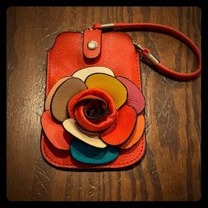 🛍 3/$15 or 5/$25 🛍 red leather wristlet flower